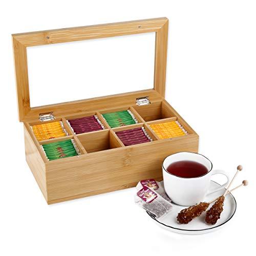 Gräfenstayn® Caja de té de bambú (9 x 28 x 16cm) con 8 Compartimentos, Tapa abatible con Ventana e Ideal para la protección del Aroma