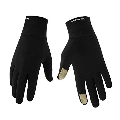 Guantes de trabajo de invierno, 2 piezas de guantes de conducción para clima frío, guantes de invierno cálidos, guantes de deportes al aire libre para bicicleta guantes de pantalla táctil (S/M, negro)