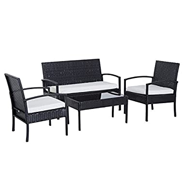 Outsunny 4 Piece Outdoor Patio Armchair and Loveseat Conversation Set - Brown