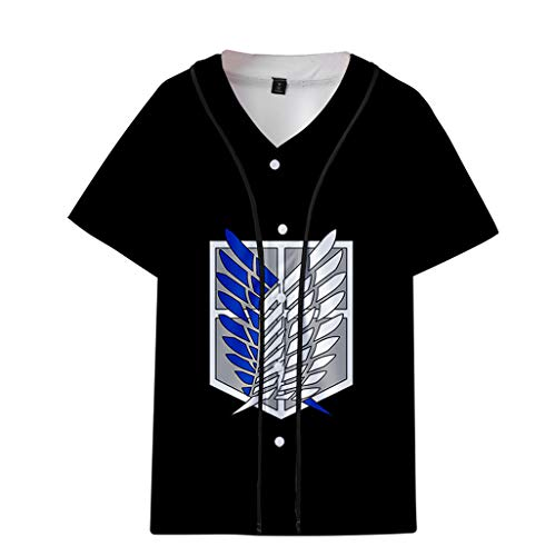 PowerfulTop Attack on Titan 3D T-Shirts per Donna Uomo Maglietta Manica Cotone Shirt Anime Shingeki No Kyojin Attacco dei Giganti Manica Top (17,L)