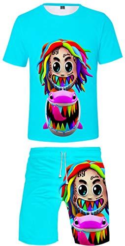 Silver Basic 6ix9ine Camiseta Deportiva para Hombre 6ix9ine Gooba Camiseta y Pantalones Cortos Conjunto de Verano Tekashi69 Camiseta para Hombres y Niños XS,2576Azul 69-3