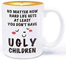 Father's Day Birthday Mug Gift for Dad - at Least You Don't Have Ugly Children - 330ml Funny Ceramic Coffee Mug Gifts to...