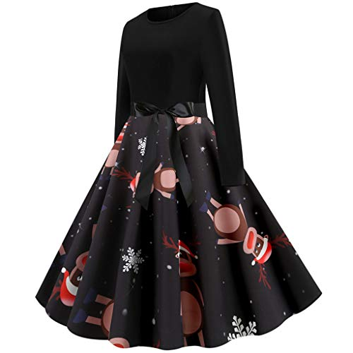 beetleNew Womens Dress Robe de Cocktail élégante pour Femme - Style rétro années 50 - avec imprimé Renne et élan - Manches Longues - Taille Haute - Robe de soirée - Robe de Noël - Noir - S