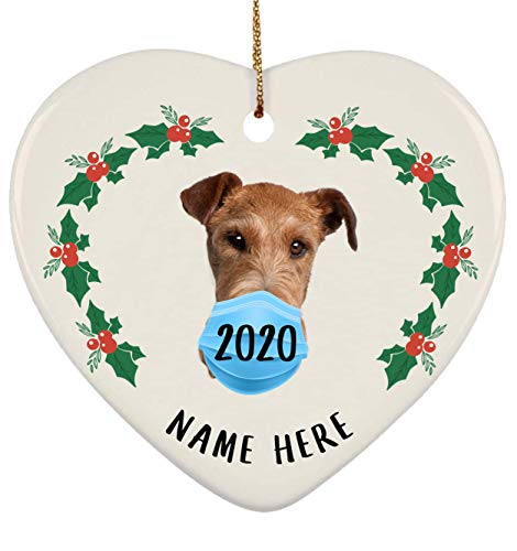 Lovesout Funny Personalized Name Irish Terrier Quarantine 2020 Heart Ornament Christmas Tree