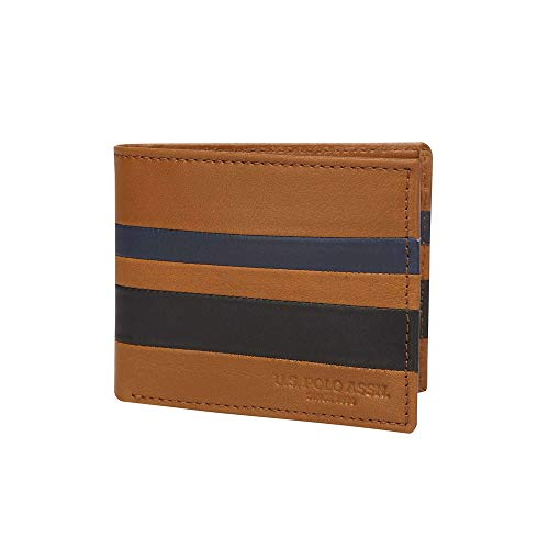 US Polo Association Mens 1 Fold Wallet (Tan_Free Size)