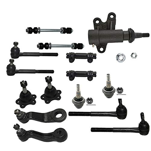 Detroit Axle - 15PC Front Upper Lower Ball Joint, Sway Bar and Inner Outer Tie Rod Kit for 1995-1999 Escalade K1500 K2500 K1500 Suburban Yukon Tahoe - 4WD Stamped Steel Lower Control Arms Models