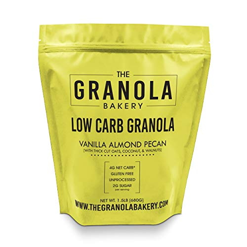Granola Bakery - Vanilla Almond Low Carb Granola - 4g Net Carb, 1.5lb Bulk Bag, Low Sugar Keto Oatmeal, Gluten Free Nut Cereal, Diabetic Friendly, Natural Ingredients Only