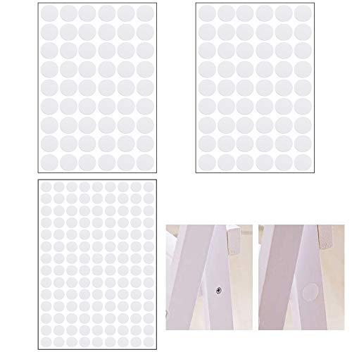 SRunDe14mm/20mm Selbstklebende abdeckkappen für möbel Weiß PVC Staubdichter Aufkleber zum überdecken von Hässlichen Schraubenlöchern für Holzmöbel Schrank Regalplatte (108 Stück 20mm/126 Stück 14mm/)