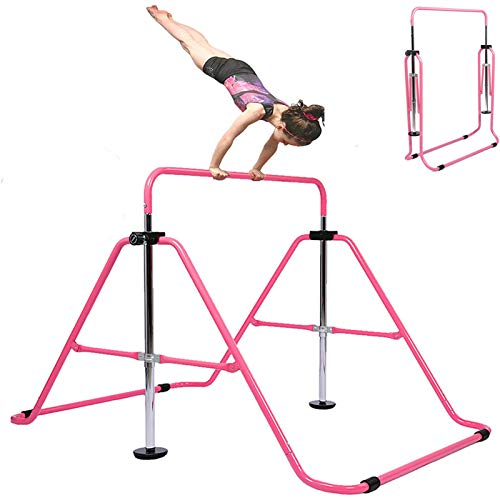 Kids Gymnastics Bar for Home Teens Grips Traing, Gymnastic Bars Expandable Height Adjustable Folding Junior for Aage 3-8