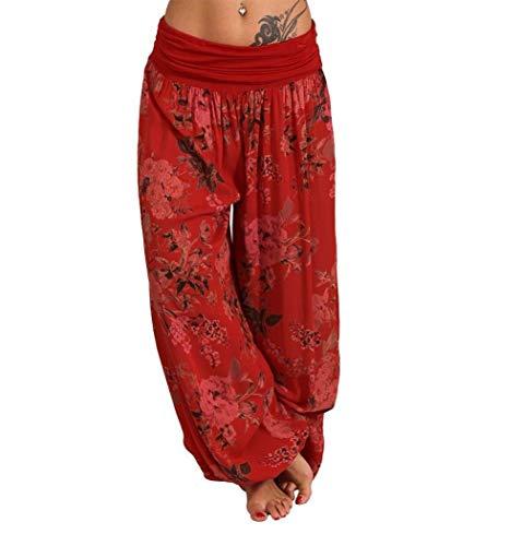 nobrand Pantaloni da Donna con Stampa Harem Pantaloni Larghi da Jogging Allentati Pantaloni Larghi per Yoga Hippie Pantaloni Caviglia Stringere (Red, XXXL)