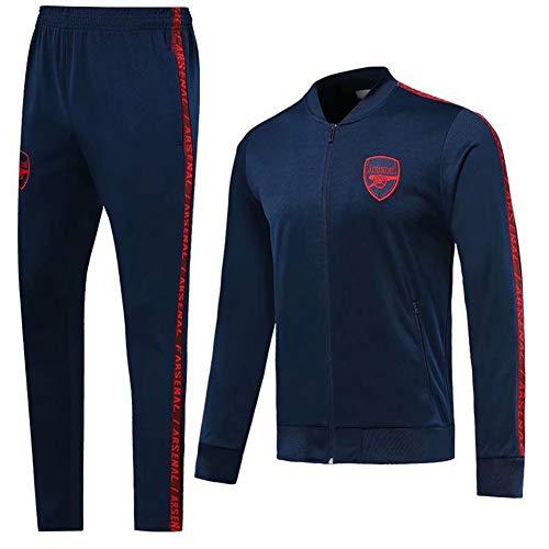 Fußballtrikot Set-UEFA Champions League Juventus Inter Milan Fußball Uniformen Jacke Trainingsanzug Sportswear Herren Langarm Jacke Personalisierbar Familie (S-XL) L dunkelblau