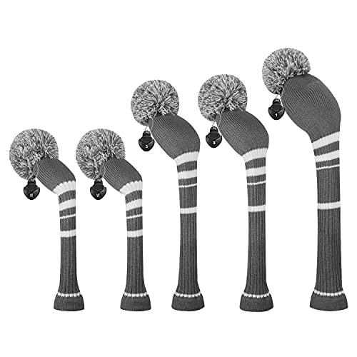 ゴルフクラブカバーは、ドライバーウッド(460 cc)1フェアウェイWood 2とハイブリッド(UT)2のためにぴったりの5つの二重層糸編みスタイル・スタイルのセットをカバーしました (Steel Gray White Stripes)