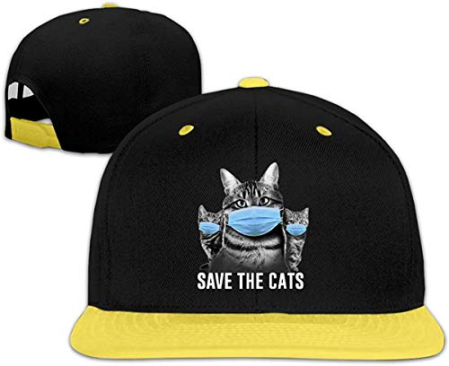 Desyaiw Save The Cats Coronavirus Funny Humor Novelty Cat Child Baseball Hat Snapback Personalized Red,Yellow,One Size