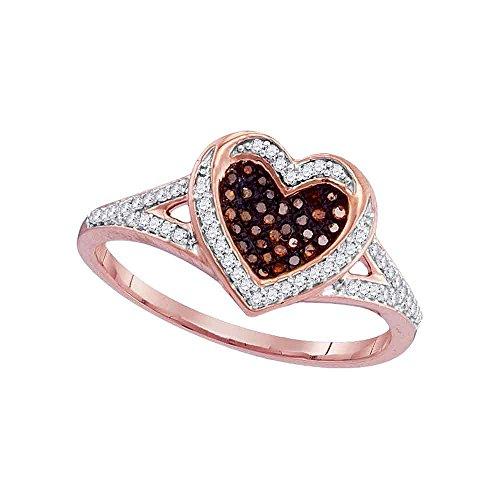 10kt oro rosa para mujer redondo rojo corazón amor anillo 1/5quilates de diamantes de color (I2-I3claridad; Color rojo)