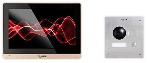 Goliath IP Türsprechanlage 1 Familienhaus, Unterputz Türstation, Edelstahl, HD Kamera, App mit Türöffner-Funktion, Aufzeichnung, 10,2 Zoll, Video-Speicher, Set, AV-VTC31