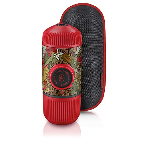 Wacaco Nanopresso Máquina de Café Expreso Portátil, Versión Mejorada de Minipresso, Edición de Rojo Tattoo Jungle, Cafetera de Viaje Pequeña, Funcionamiento Manual, Perfecta para llevar a Acampar