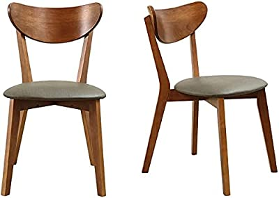 Walnut Surface Kitchen Chair Wood Side Chair Rubber Wood Legs, Can Be Used Comfortably in The Living Room and Dining Room (2 Sets)