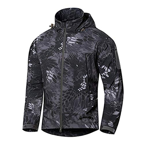 Outdoor Tactique Mince Soft Shell Veste Homme Printemps imperméable à Capuche Randonnée Manteau Automne Coupe-Vent Militaire Black phython XL