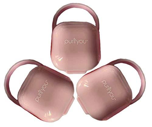 purifyou PurePouch Schnullerkoffer, Nipple Shield Tragetasche & Schnullerhalter Box | BPA-frei, ungiftig, tragbar | 3er-Set mit freiem Netzbeutel (3er-Set, Klares Rosa)