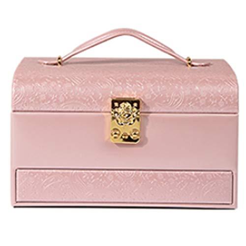 GYY Cadeau préféré de Fille boîte à Bijoux européenne en Bois 3 Couches Rose Princesse Dressing Box boîte à Bijoux à la Main Vintage boîte de Maquillage (Color : Pink, Size : 22X16.5X13CM)