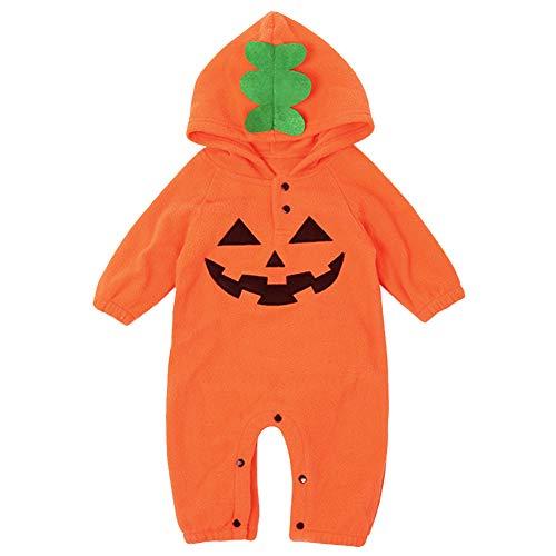 Le SSara Halloween Kürbis mit Kapuze Overall Weihnachten Romper Outifts (18-24 Monate, Grhead)