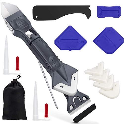 5 in 1 silikonentferner werkzeug & fugenkratzer kit(Edelstahlkopf )-Lanpard 15PCS silikon entfernen werkzeug set, mit Düsenkappe und Tragetasche