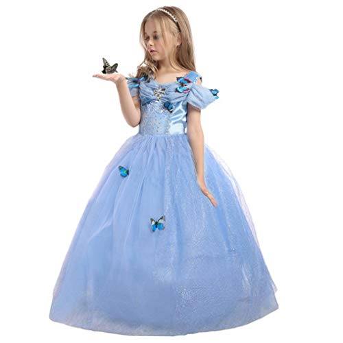 EnjoyFashion Girls' 2015 New Cinderella Dress Princess Costume Butterfly 4-5 Blue