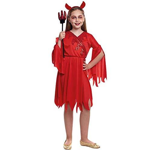 H HANSEL HOME Disfraz Diablesa Infantil - Niña - Incluye Vestido + Diadema Cosplay/Carnaval/Halloween Size 7-9 años