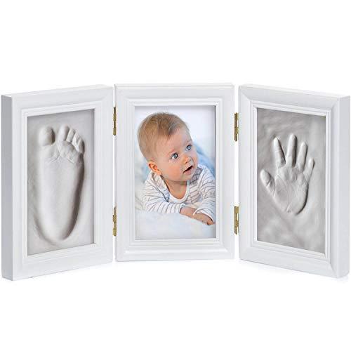 Baby Bilderrahmen Gipsabdruck-Set - Fotorahmen Gips für Hand-Abdruck Fuß-Abdruck & Fotos; 3-tlg weiß