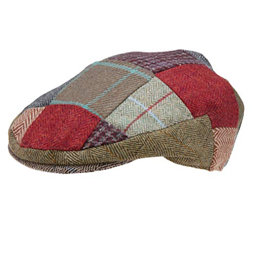 Genuine Tweed Patch Flat Cap Men and Women Made by Celtic Weave of Scotland, Similar to Irish and HarrisTweed (XLarge)