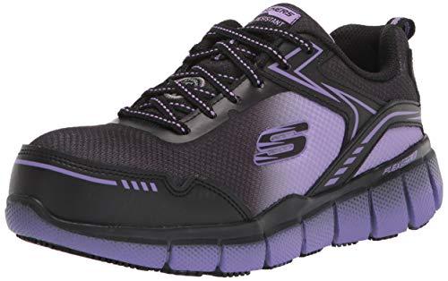 Skechers Women's Lace up Athletic Safety Toe Construction Shoe, Black/Purple, 8