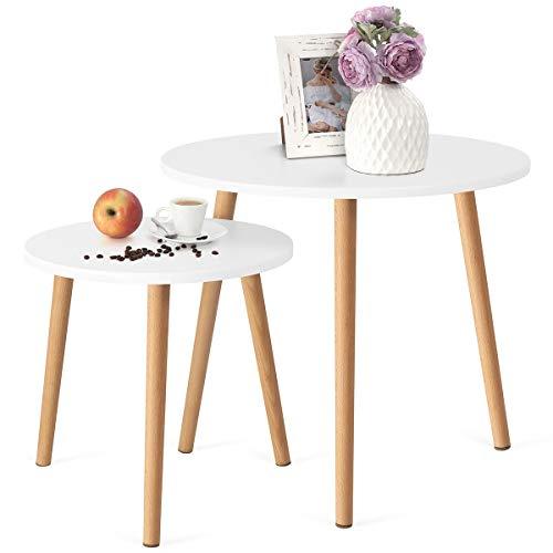COMIFORT Beistelltisch-Set - Satztische in Nordischem Stil, Modern und Minimalistisch, Sehr Robust, 2-Teiliges Beistelltisch-Set mit runder Tischplatte, Farbe: Weiß und Buche, 100% Natürlich