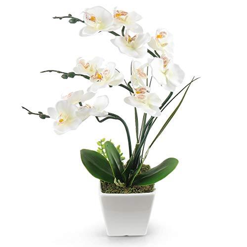 RERXN Flores artificiales decorativas de tacto real con macetas de cerámica para decoración de oficina en el hogar (blanco)