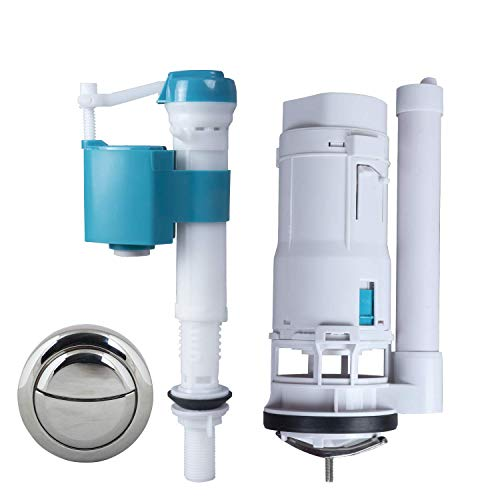 """ELEGANT CASA Plastic Tank commode fixed together Water-Saving Toilet Repair Kit with Dual Flush Valve , 8.26 inch Flush siphon 6-10"""" Fill Valve, ABS Push Button for Bathroom Commode Cistern Fitting"""