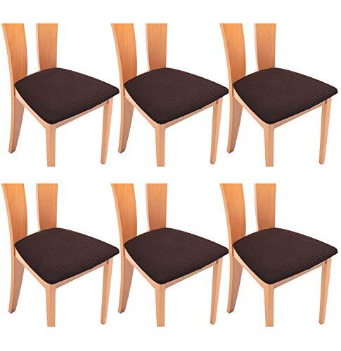 TIANSHU Funda Asiento Silla,Fundas elásticas para Asientos de sillas de Comedor y Oficina Jacquard Poliéster Elástica Fundas sillas Duradera(Paquete de 6,Chocolates)