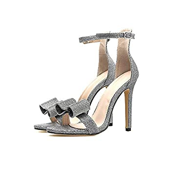 Women Silver Rhinestone Heeled Sandals with Bow Ankle Strap for Wedding Party Prom