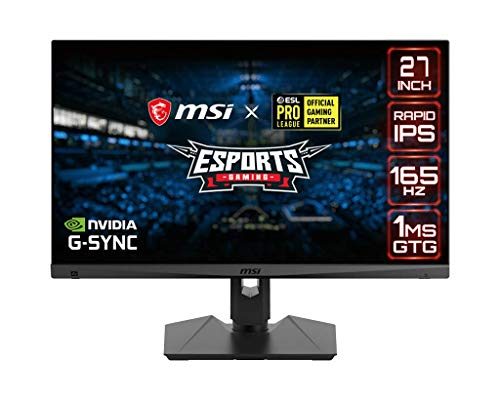 "MSI QHD Rapid-IPS Gaming Non-Glare Super Narrow Bezel 1ms 2560 x 1440 165Hz Refresh Rate Adjustable Arm G-Sync Compatible 27"" Gaming Monitor (Optix MAG274QRF), Black"