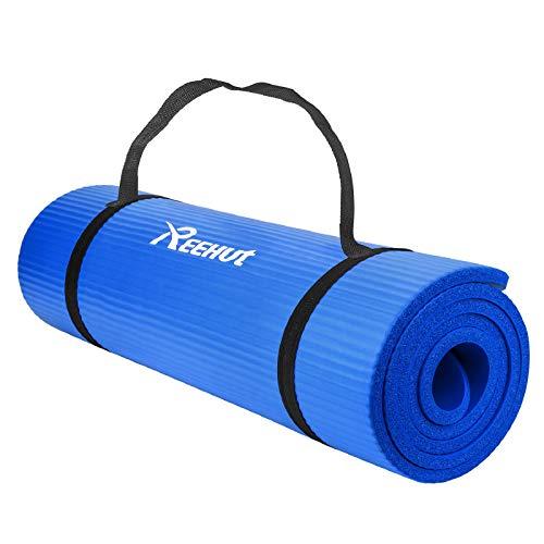 REEHUT Colchoneta de Yoga de NBR de Alta Densidad y Extra Gruesa de 12mm Diseñada para Pilates, Fitness y Entrenamiento - con Correa de Hombro 180cm x 61cm(Azul)