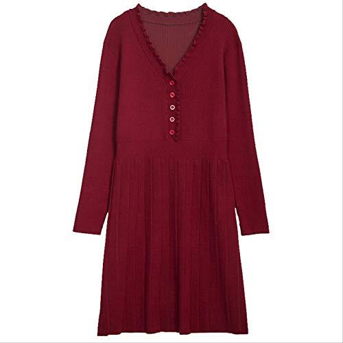 DAIDAIWLH Vestido De Suéter De Cuello En V Mujeres Otoño Invierno Punto Jerseys De Manga Larga Jumper Plus Tamaño
