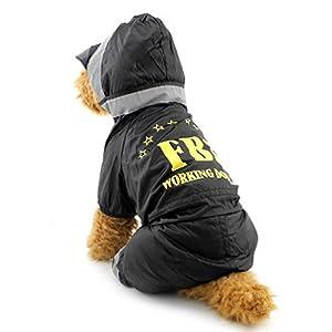 Pegasus Pet chiot vêtements pour chat/petit chien, vinyle FBI imperméable à capuche Imperméable pour chien refelective