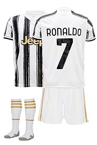GamesDur Ronaldo # Fußball Trikot Kinder 20-21 Fussball Kinder Set Juve (für 3-14 Jahre) (kommt mit Socken und kurz)… (Ronaldo Heim, 152)