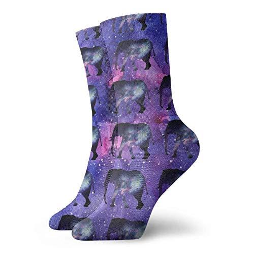 FETEAM Calcetines deportivos cortos con estampado de elefante de galaxia morado