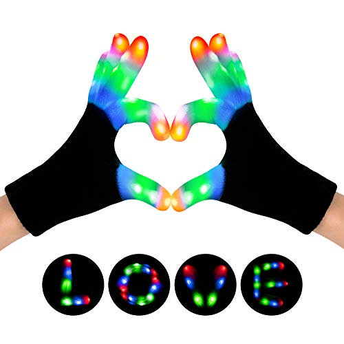 SIPU LED Gloves, Light Up Gloves Finger Lights 3 Colors 6 Modes Flashing LED Warm Gloves Colorful Flashing Gloves Kids Toys for Christmas Halloween Party Favors,Gifts (adult-1pair)