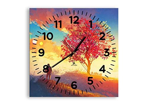 Carr/ée C1AC30x30-2593 Pendule murales 30x30cm 2593 Horloge en Verre Silencieux Horloge Murale D/écoration Pret a accrocher prete a Suspendre M/écanisme d/écoulement Moderne