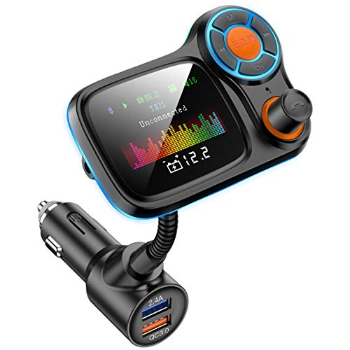 """Wireless Car Bluetooth Adapter,Radio FM Transmitters HandsFree Call Receiver and MP3 Music/APP Audio Play,QC3.0 and Smart 2.4A Dual USB Charger,1.8"""" Color Display,Aux Port,TF Card"""