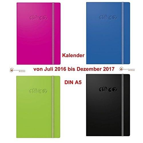 Buchkalender 2017 Colour Code DIN A5 18 Mon Kalender JULI 2016 bis DEZ 2017 Farbe blau