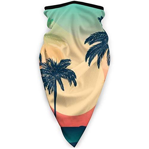 BEHDIJ Pasamontañas máscara facial a prueba de viento máscara deportiva bufanda para mujeres hombres al aire libre cómodo y transpirable cuello polaina diadema bufanda-palma árbol de coco