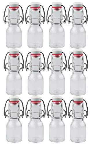 mikken 12x Glasflasche 50ml mit Bügelverschluss aus Kunststoff, inkl Beschriftungsetiketten