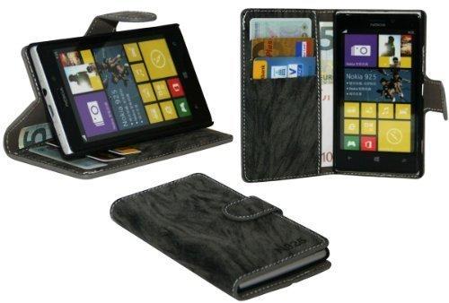 ENERGMiX Buchtasche Hülle kompatibel mit Nokia Lumia 925 Case Tasche Wallet BookStyle mit STANDFUNKTION Anthrazit