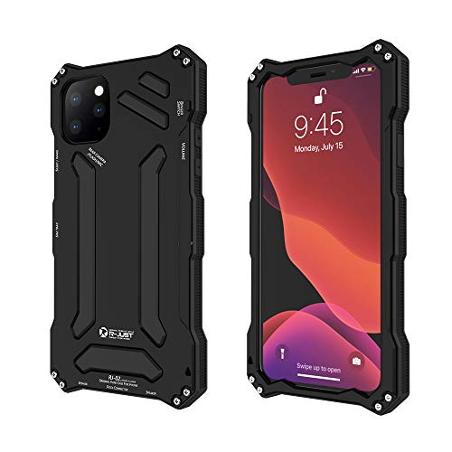 R-JUST Compatible for iPhone 11 Pro Max Metal Case,Premium Shockproof Dropproof Aluminum Metal Protection Mechanical Armor Cover Case for iPhone 11 Pro Max (Black, iPhone 11 Pro Max-6.5'')